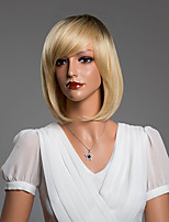 Beautiful Medium BOB Straight Capless Wigs With Bangs Human Hair Mixed Color 14 Inch