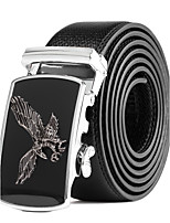 Men's Suits Dress Black Leather Wide Waist Belt Strap Black Silver Automatic Belt Buckle