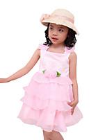 Mädchen Kleid-Ausgehen einfarbig Andere Sommer Rosa / Weiß