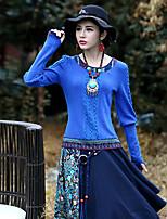Tee-shirt Aux femmes,Cachemire Sortie Vintage Printemps / Automne Manches Longues Col Arrondi Noir Coton / Spandex Moyen