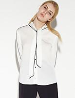 Women's Work Simple Spring / Fall T-shirtSolid Round Neck Long Sleeve White Cotton / Nylon / Spandex Medium