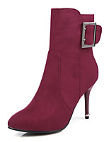 Women's Boots Winter Fashion Boots / Pointed Toe Dress Stiletto Heel Buckle Black / Purple / Gray / Burgundy Others