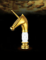Contemporary Vessel Widespread with  Ceramic Valve Single Handle  Gold  Bathroom Sink Horse Head Faucet