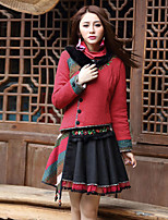 Our Story Women's Regular Padded CoatBoho Going out Embroidered-Cotton / Polyester Cotton Long Sleeve Sweetheart Red