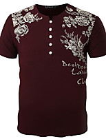 Men's Print / Solid Casual / Work / Formal / Sport / Plus Size T-ShirtCotton / Spandex Short Sleeve-Red / White / Gray