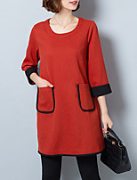 Women's Plus Size / Casual/Daily Vintage Loose DressSolid Round Neck Above Knee  Sleeve Red / Black Polyester
