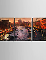 E-HOME® Stretched Canvas Art City Canal View In Water Decoration Painting  Set Of 3