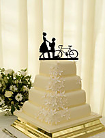 Cake Topper Non-personalized Classic Couple Acrylic Wedding Flowers Black Classic Theme 1 Gift Box