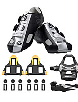 SD002 Cycling Shoes Unisex Road Bike Black /Silver-sidebike And ShimanoR550 Rock Pedals