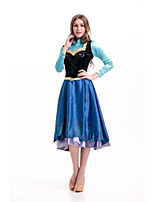 Costumes Princess series Costumes Halloween Blue Solid Terylene Dress / Shawl / More Accessories