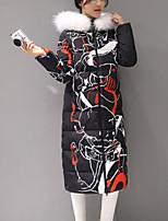 Women's Print Blue / Pink / Black Down CoatStreet chic Hooded Long Sleeve