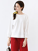 IDYLL ISLAND  Women's Casual/Daily Simple Fall T-shirtSolid Round Neck Long Sleeve White Cotton Thin