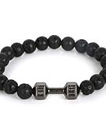 Beadia 1Pc Live Lift Dumbbell Bracelet 8mm Black Stone Beads Strand Bracelet