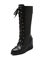 Women's Boots Spring / Fall / Winter Wedges / Platform / Fashion Boots Leatherette / Casual Wedge Heel Lace-upBlack
