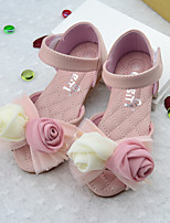 Girl's Sandals Summer PU Casual Flat Heel Flower Pink White Others