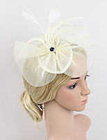 Women's Feather / Net Headpiece-Wedding / Special Occasion Party Simple Fascinators 1 Piece Black / Beige / Red