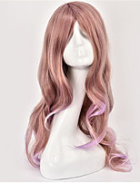 Anime Cosplay Wig Female Curly Hair Brown Color Gradient Lilac Lolita False Head