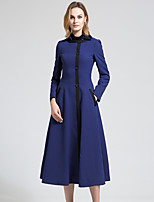 BORME Women's Shirt Collar Long Sleeve Trench Coat Dark Blue-Y063