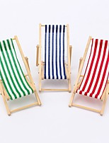 Scale Foldable Wooden Deckchair Lounge Beach Chair For Gadgets Holder Miniature Dolls House Rack Storage Random Color