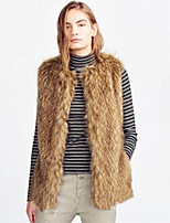 Women's Plus Size / Casual/Daily / Party/Cocktail Simple Fur Coat,Solid Round Neck Sleeveless Fall /