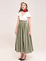 YIGELILA Damen V-Ausschnitt Kurze Ärmel Maxi Kleid-62125