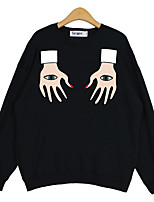Women's Casual/Daily Simple Regular HoodiesPrint White / Black Round Neck Long Sleeve Polyester All Seasons