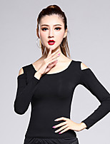 Latin Dance Tops Women's Training Modal 1 Piece Black Latin Dance Long Sleeve Natural Top