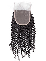 8inch to 20inch Black Hand Tied Kinky Curly Human Hair Closure Medium Brown Free Style Swiss Lace Closure