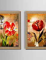 2Panel Modern Wall Art Abstract Flower Oil Painting  Hand Painted On Natural Linen With Stretched Frame