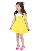 Girl's Going out Solid Dress,Cotton / Others Summer Yellow