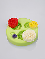 4 Cavity rose shape silicone mold fondant cake decoration tools chocolate mold Color Random