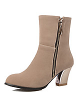 Women's Zipper Frosted Round Closed Toe Kitten Heels Solid Boots
