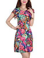 High Quality Women's Simple / Street chic Print Plus Size / Sheath Dress,Round Neck Above Knee Cotton / Polyester