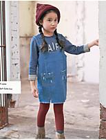 Vestido / Mono Chica de-Casual/Diario-Un Color-Algodón-Otoño / Primavera-Azul
