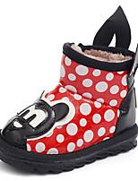 לבנות-מגפיים-דמוי עור-נוחות מגפי אופנה-שחור אדום-שטח יומיומי-עקב שטוח