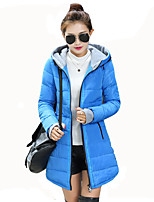 Women's Solid Plus Size Slim Thick Warm Coat Simple / Street chic Hooded Long Sleeve