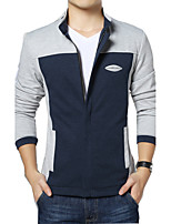 Men's Long Sleeve Casual / Sport JacketCotton / Spandex Color Block Blue / Gray