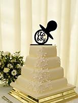 Украшения для торта Персонализированные не Монограмма Акрил День рождения Цветы Черный Классика 1 Подарочная коробка