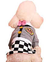 Fashion Preppy Style Gird Design Jumpsuit Dress for Pets Female Dogs (Assorted Size)