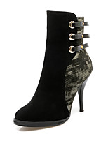 Women's Boots Spring / Fall / Winter Fashion Boots Leatherette  / Casual Stiletto Heel Buckle Black / Burgundy Others