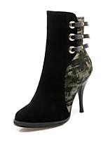 Mujer-Tacón Stiletto-Botas a la Moda-Botas-Casual / Fiesta y Noche-Semicuero-Negro / Bermellón