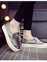 נשים-נעליים ללא שרוכים-PU-נוחות-שחור / לבן-שטח / קז'ואל-עקב שטוח