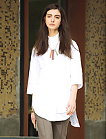 Chemise Femme,Couleur Pleine Décontracté / Quotidien simple Printemps / Automne ½ Manches Col de Chemise Blanc Coton Moyen