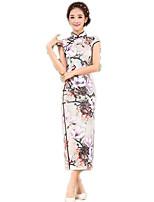 One-Piece Short Sleeve Long Length Ink Blue Lolita Dress Polyester