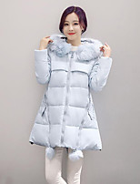 Women's Solid Blue / Pink / Red / Black / Gray / Yellow Padded CoatStreet chic Hooded Long Sleeve