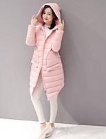 Women's Solid Pink / Black / Gray / Green Padded CoatSimple Hooded Long Sleeve