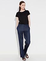 c + impresionar sólida pantssimple azul pantalones de algodón de las mujeres