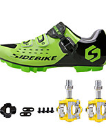SD01 Cycling Shoes Unisex Outdoor / Road Bike Sneakers Green / Black-sidebike And Yellow Rock Pedals