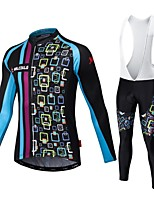 MALCIKLO® Cycling Jersey with Bib Tights Men's Long Sleeve BikeBreathable / Quick Dry / Front Zipper / Wearable / High Breathability