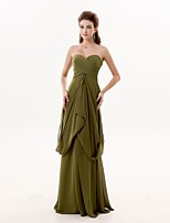 Formal Evening Dress A-line Sweetheart Floor-length Chiffon with Pleats